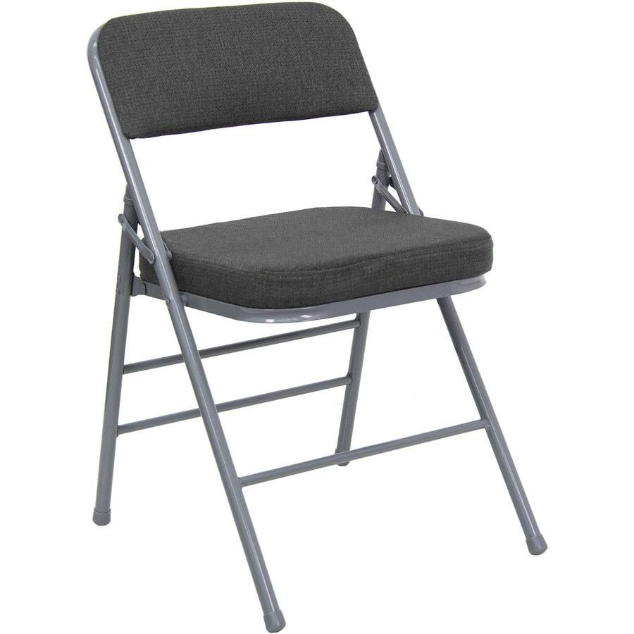 """Gray Metal Folding Chair with 2 1 2"""" Padded Fabric Seat"""