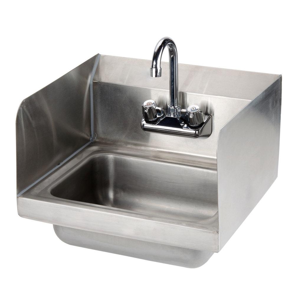Sink Splash Guard : Economy Hand Sink with Splash Mount Faucet and Side Splash Guards - 17 ...