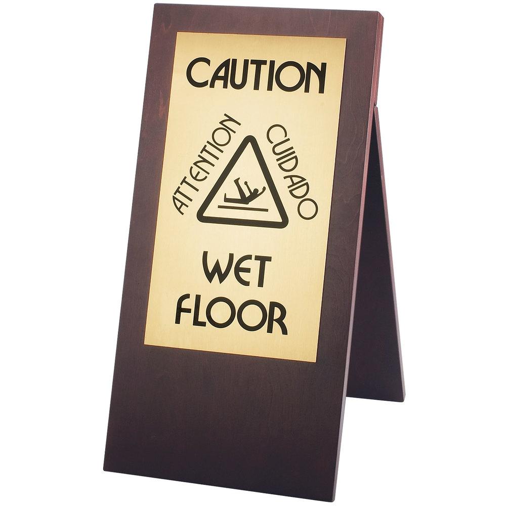 Cal mil 852 52 dark wood wet floor sign for Floor banner