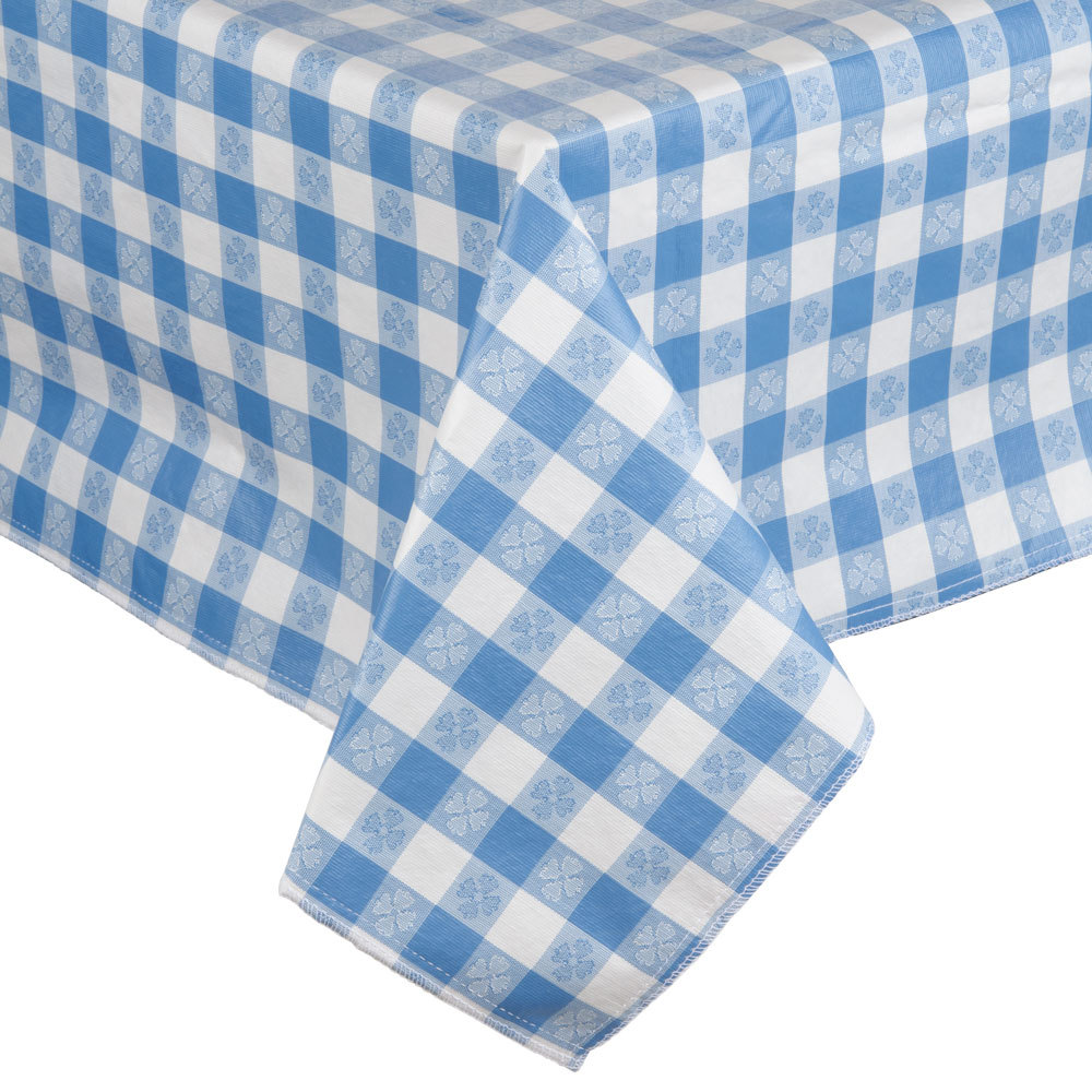 Checkered Cloth Tablecloth : Blue-Checkered Vinyl Table Cover with Flannel Back - 25 Yard Roll