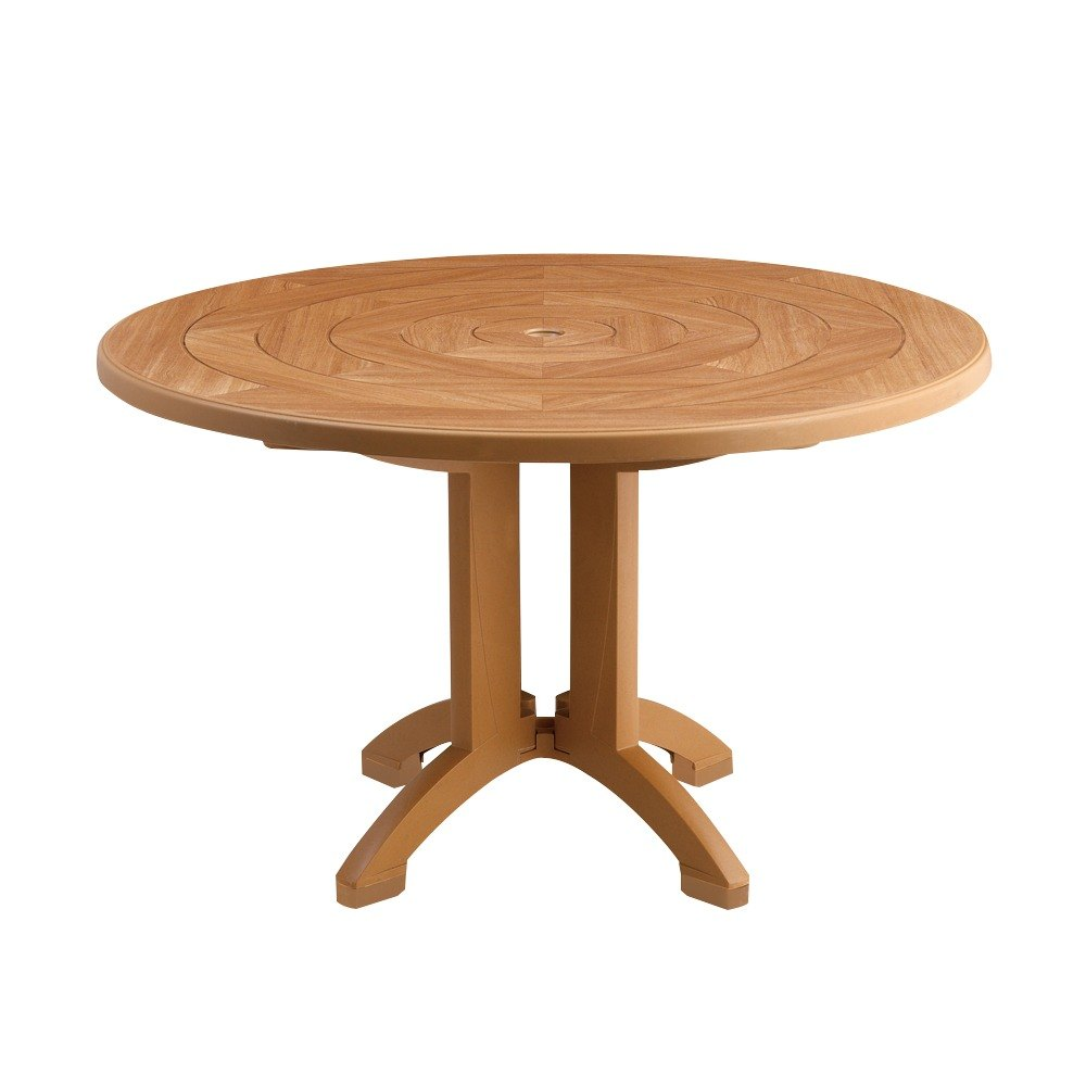 Grosfillex us921208 atlantis 48 round resin table with for Table exterieur grosfillex