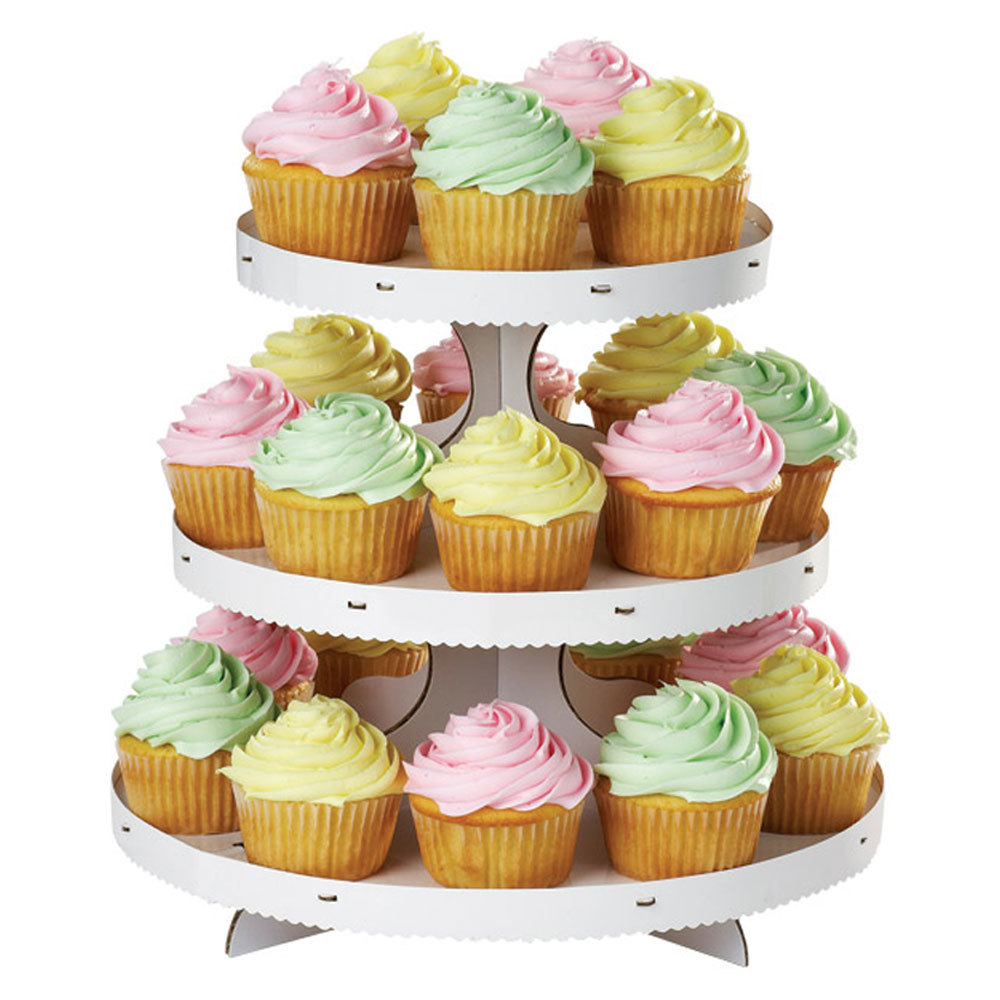 wilton 1512 127 3 tier white disposable cupcake treat stand. Black Bedroom Furniture Sets. Home Design Ideas