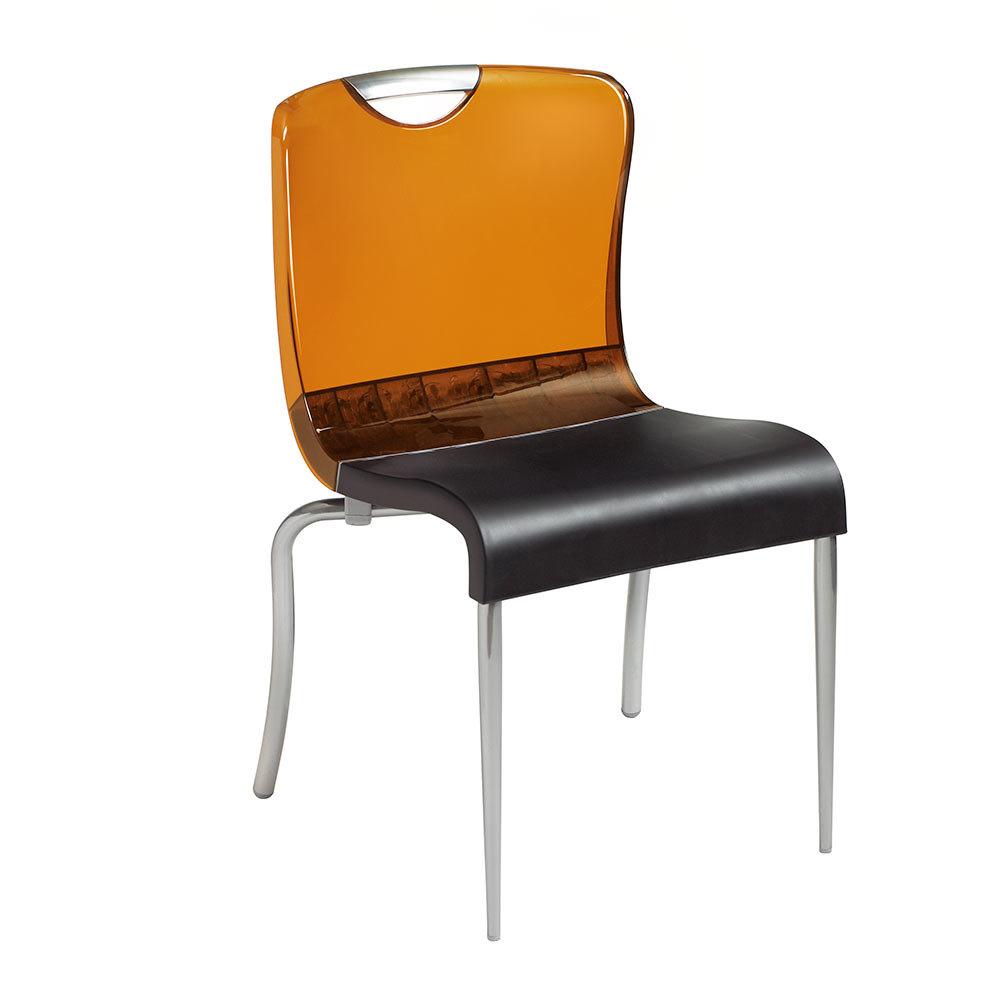 Grosfillex Krystal Resin Indoor Stacking Chair Amber