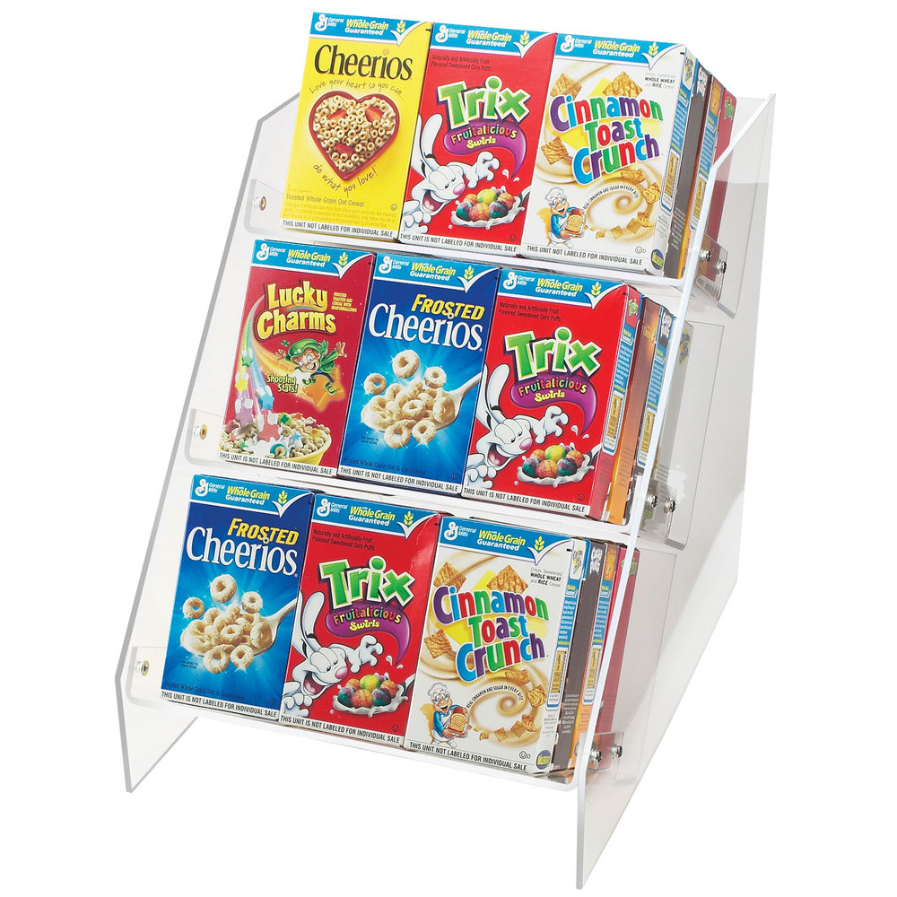 Cal mil 370 angled countertop cereal organizer holds 36 for Cereal organizer