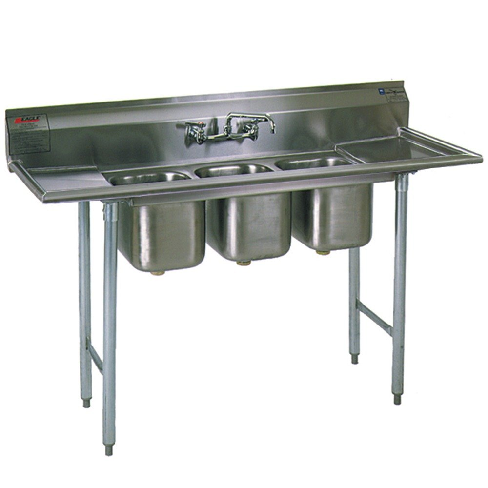 Commercial Three Compartment Sink : Group 310-10-3-12 Three Compartment Stainless Steel Commercial Sink ...