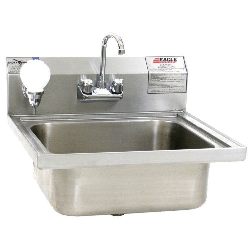 ... W1916FA Stainless Steel Wall Mount Hand Sink with Splash Mount Faucet
