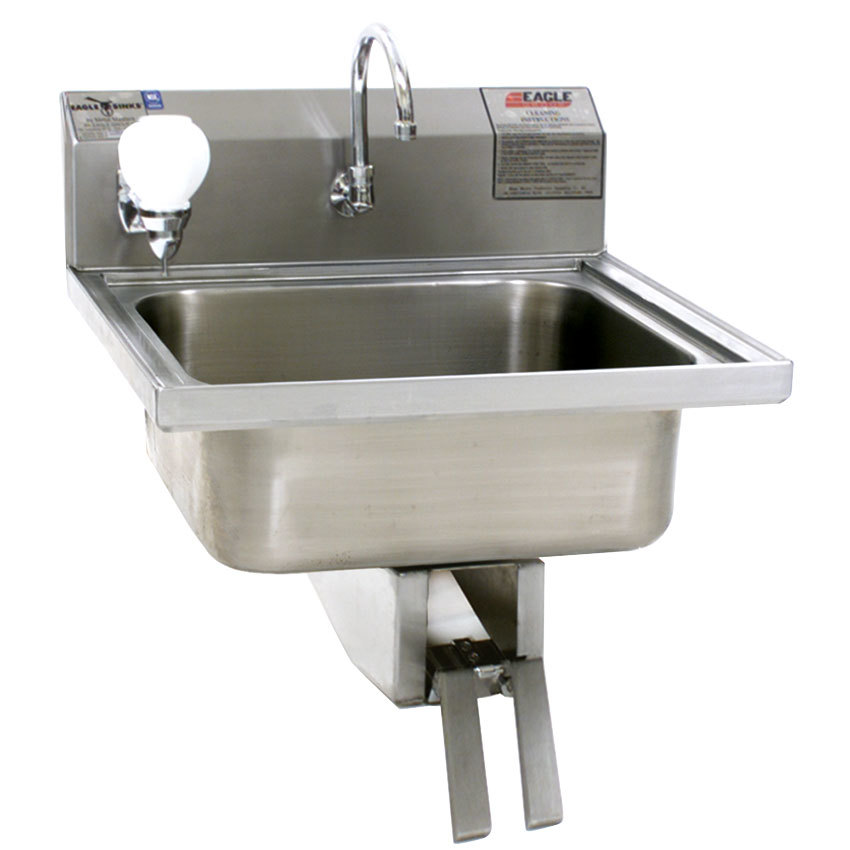 Eagle Group W1916 Stainless Steel Wall Mount Hand Sink with Knee Pedal ...