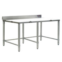 Eagle Group CT3096S-BS 30 inch x 96 inch Poly Top Stainless Steel Cutting Table - Open Base