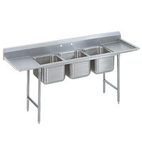 Advance Tabco 9-3-54-36RL Super Saver Three Compartment Pot Sink with Two Drainboards - 127 inch