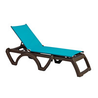 Grosfillex US337241 / US373241 Calypso Bronze Mist / Turquoise Stacking Adjustable Resin Sling Chaise