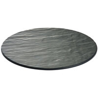 Tablecraft Frostone MG13 13 inch Round Faux Slate Melamine Display Tray