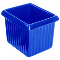 Tablecraft CW1520BL 1 Qt. Cobalt Blue Cast Aluminum Rectangle Server with Ridges