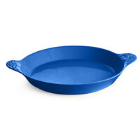 Tablecraft CW2160BL 24 oz. Cobalt Blue Round Au Gratin Dish with Handles
