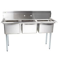 "Regency 60"" 16-Gauge Stainless Steel Three Compartment Commercial Sink without Drainboards - 17"" x 17"" x 12"" Bowls"