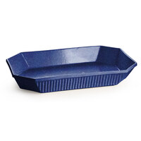 Tablecraft CW2010BS 4.5 Qt. Blue Speckle Cast Aluminum Octagon Casserole Dish