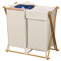 Two Compartment Wood X-Frame Collapsible Laundry Hamper
