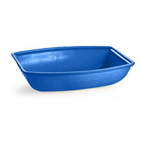 Tablecraft CW3195BL 8 Qt. Cobalt Blue Cast Aluminum Oblong Salad Bowl