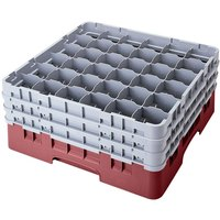 Cambro 36S738163 Red Camrack 36 Compartment 7 3/4 inch Glass Rack