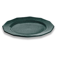 Tablecraft CW1795HGNS 13 inch Hunter Green with White Speckle Cast Aluminum Round Prism Plate