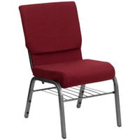 Burgundy 18 1/2 inch Wide Church Chair with Book Rack - Silver Vein Frame