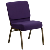 Royal Purple 21 inch Extra Wide Church Chair with Gold Vein Frame