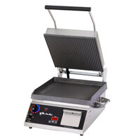 Star Pro Max CG28ITB 14 inch x 28 inch Grooved Iron Top & Bottom Panini Sandwich Grill with Electronic Timer