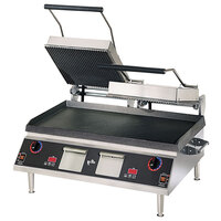 Star Pro Max CG28ITGTB 14 inch x 28 inch Grooved Iron Top & Smooth Bottom Panini Sandwich Grill with Electronic Timer