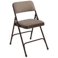 National Public Seating 2207 Brown Metal Folding Chair with 1 1/4 inch Russet Walnut Fabric Padded Seat