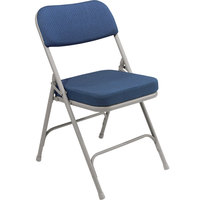 National Public Seating 3215 Gray Metal Folding Chair with 2 inch Regal Blue Fabric Padded Seat