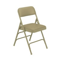 National Public Seating 1301 Beige Metal Folding Chair with 1 1/4 inch French Beige Vinyl Padded Seat