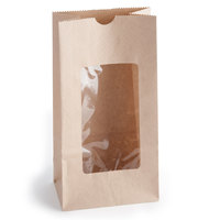 4 lb. Brown Paper Cookie / Coffee / Donut Bag with Polyethylene Window 5 inch x 3 inch x 9 5/8 inch - 1000 / Case