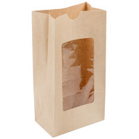 4 lb. Brown Paper Cookie / Coffee / Donut Bag with Polyethylene Window 5 inch x 3 inch x 9 5/8 inch - 1000/Case
