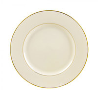 10 Strawberry Street CGLD0002 9 1/8 inch Cream Double Gold Line Luncheon Plate - 24/Case