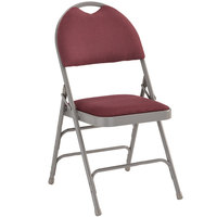 Burgundy Metal Folding Chair with 1 inch Padded Fabric Seat - with Easy-Carry Handle