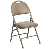 Beige Metal Folding Chair with 1 inch Padded Vinyl Seat - with Easy-Carry Handle