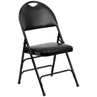 Black Metal Folding Chair with 1 inch Padded Vinyl Seat - with Easy-Carry Handle