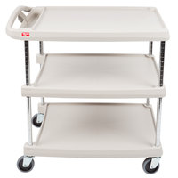 Metro myCart MY2030-34G Gray Utility Cart with Three Shelves and Chrome Posts - 24 inch x 34 inch