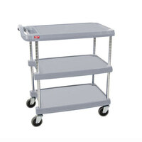 Metro myCart MY1627-34G Grey Utility Cart with Three Shelves and Chrome Posts – 18 inch x 32 inch