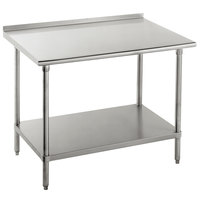 16 Gauge Advance Tabco FAG-240 24 inch x 30 inch Stainless Steel Work Table with 1 1/2 inch Backsplash and Galvanized Undershelf