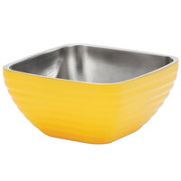 Vollrath 4761945 24 oz. Stainless Steel Double Wall Nugget Yellow Square Beehive Serving Bowl