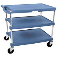 Metro myCart MY2030-34BU Blue Antimicrobial Utility Cart with Three Shelves and Chrome Posts - 24 inch x 34 inch