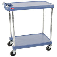 Metro myCart MY1627-24BU-SS Blue Antimicrobial Utility Cart with Two Shelves and Stainless Steel Posts - 18 inch x 32 inch