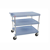 Metro myCart MY2636-35BU Blue Antimicrobial Utility Cart with Three Shelves and Chrome Posts – 28 inch x 40 inch