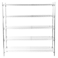Metro 5A577C Stationary Super Erecta Adjustable 2 Series Chrome Wire Shelving Unit - 24 inch x 72 inch x 74 inch
