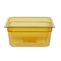 Rubbermaid FG225P00AMBR 1/2 Size Amber High Heat Food Pan - 6 inch Deep