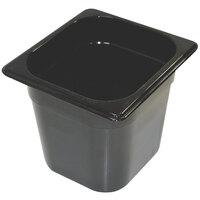 Rubbermaid FG206P00BLA 1/6 Size Black 6 inch Deep Hot Food Pan