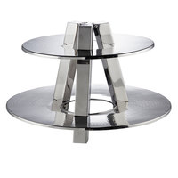 American Metalcraft DTS2013 2 Tier Display Stand - Hammered Stainless Steel