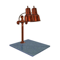 Hanson Heat Lamps DLM/GB/SC Dual Lamp 18 inch x 20 inch Smoked Copper Carving Station with Natural Granite Base