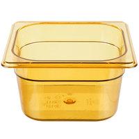 Rubbermaid FG205P00AMBR 1/6 Size Amber High Heat Food Pan - 4 inch Deep