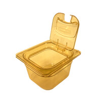 Rubbermaid FG205P00AMBR 1/6 Size Amber High Heat Food Pan - 4 inch Deep
